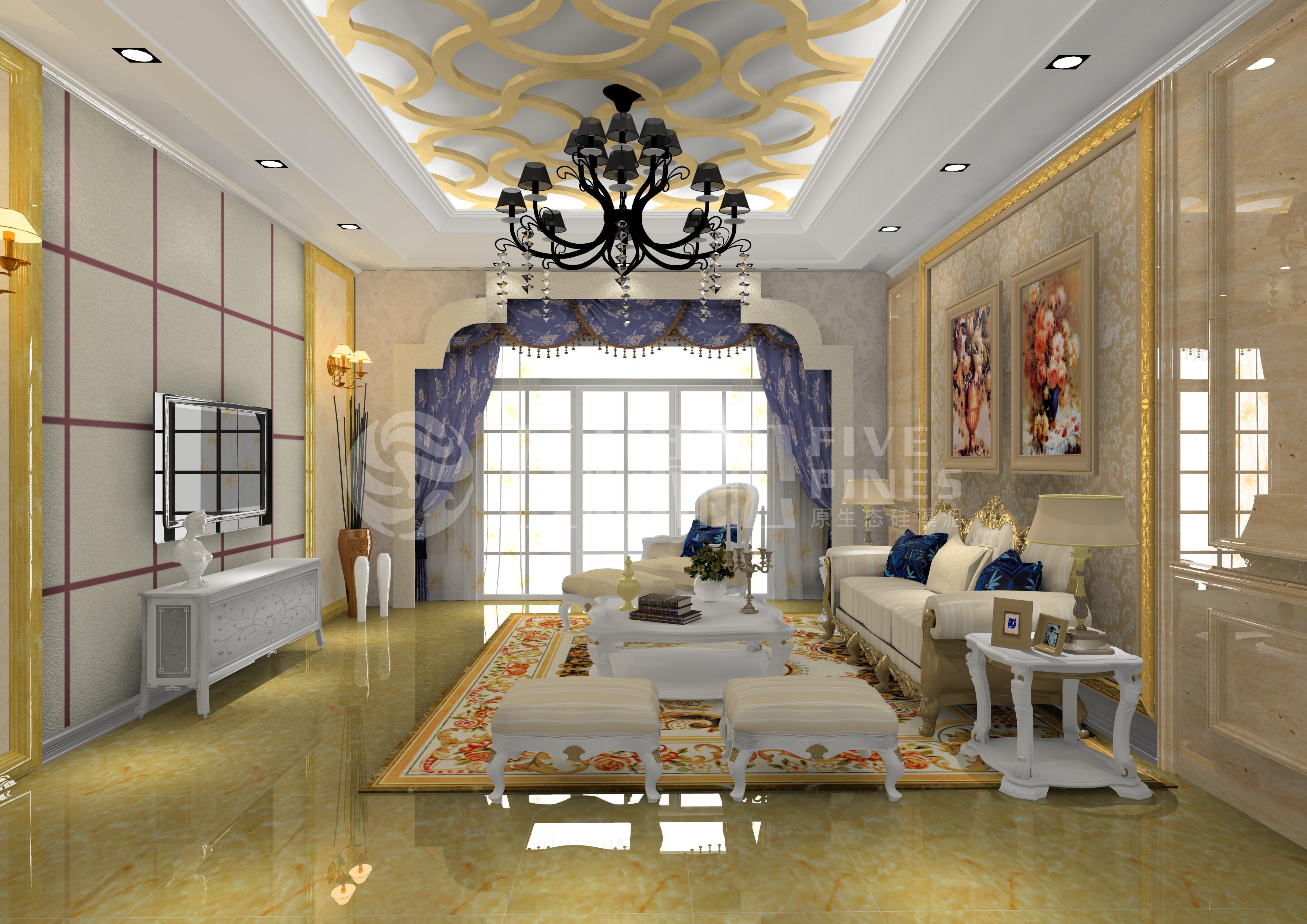 硅藻泥丝网印&浮雕 客厅 欧式风格(100抵500)